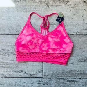 Victoria's Secret Pink & White mesh sports bra XS